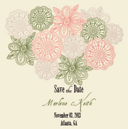 Save-the-Date Olive and Coral Florals | Cordier Event Planning