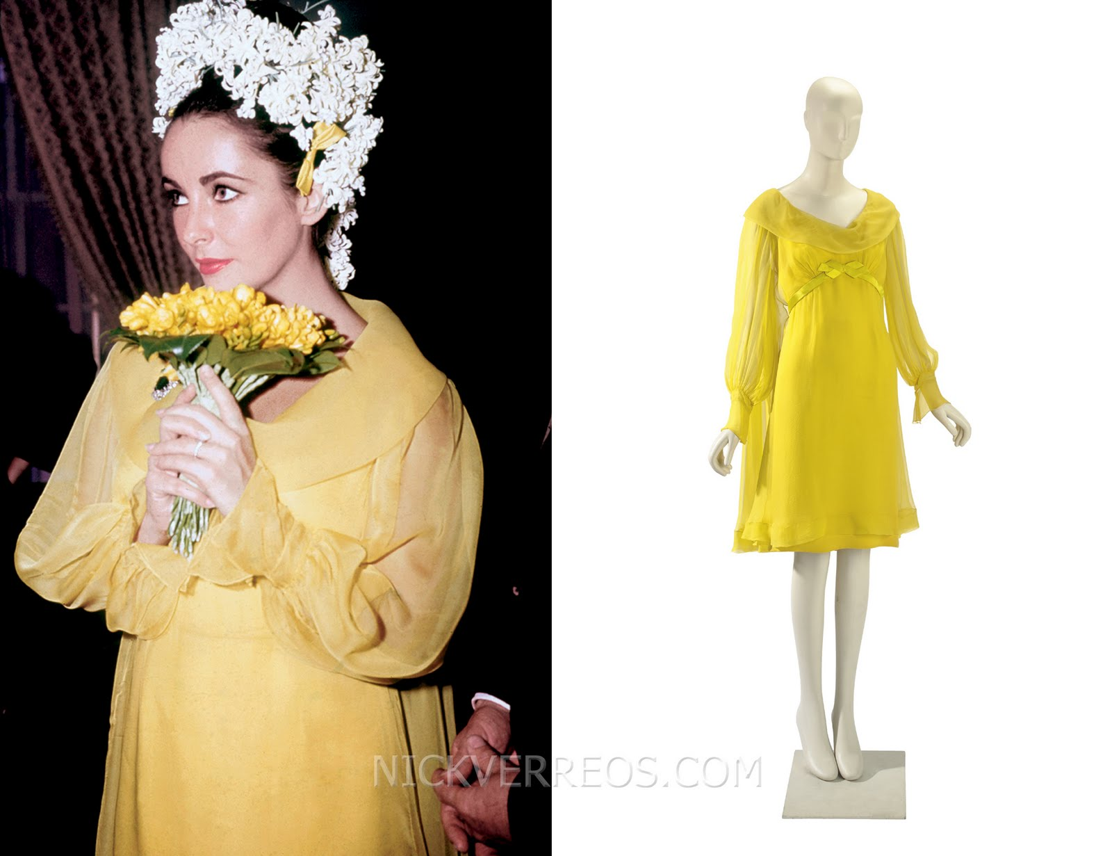 Sunflower yellow chiffon wedding dress designed by hollywood costume