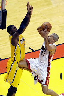 Shane Battier nailing Roy Hibbert in the groin balls nads you can ring my bell