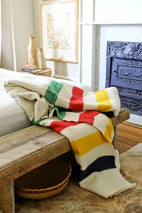 Manta de lana de rayas clasica decoracion