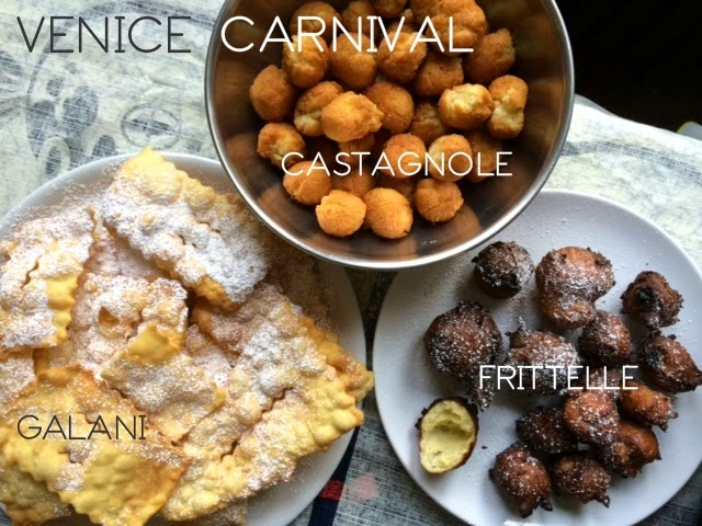 Trays with sweets typical of Venice Carnival: Frittelle, Galani e Castagnole