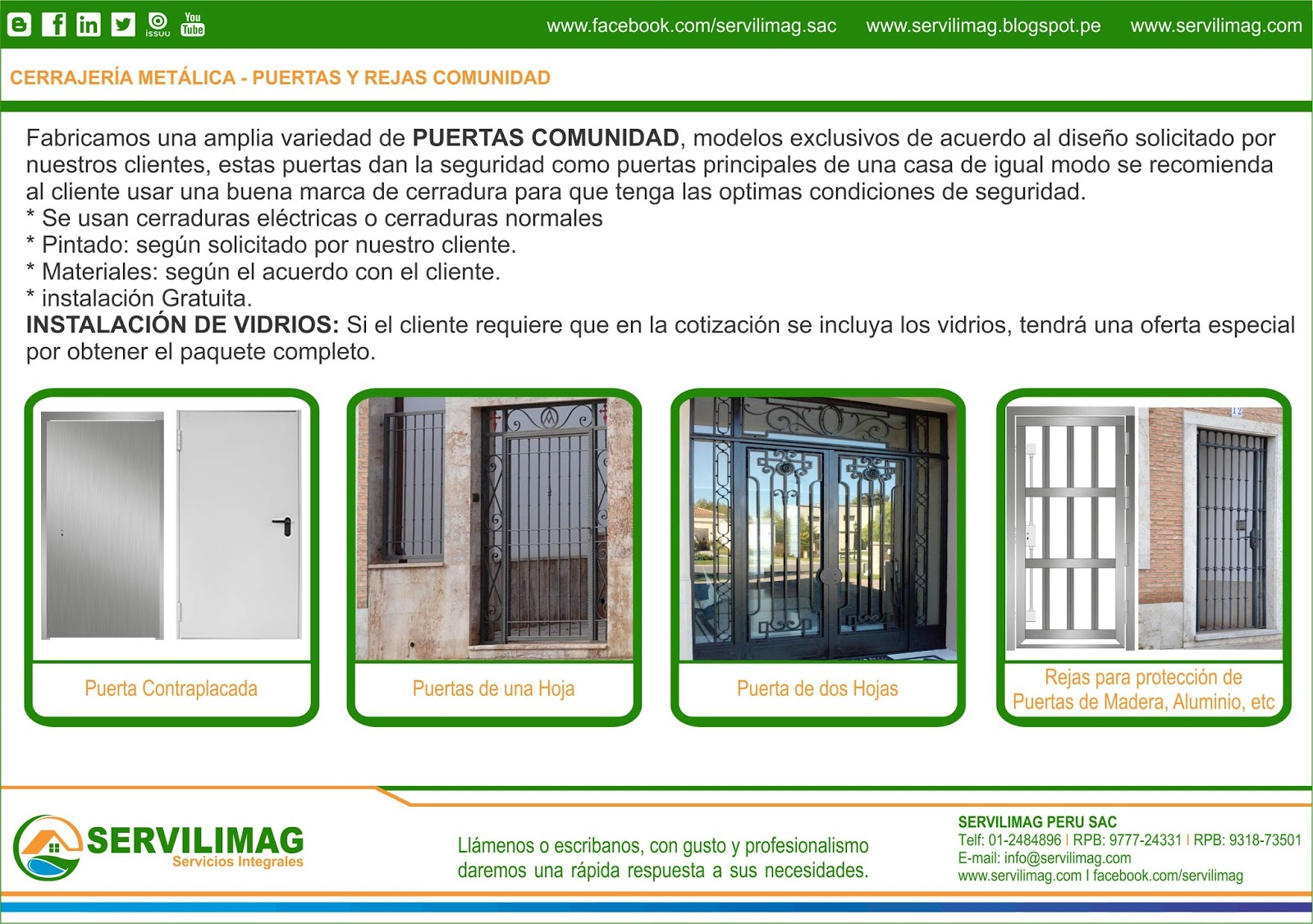 Servilimag servicios integrales carpinteria metalica y for Catalogo puertas metalicas