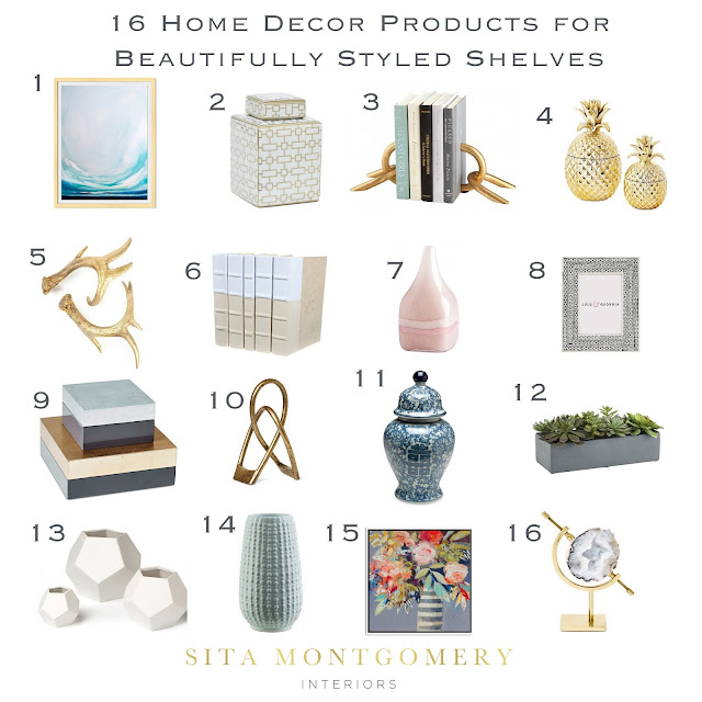 Sita montgomery interiors 6 tips for beautifully styled for Shelf decor items