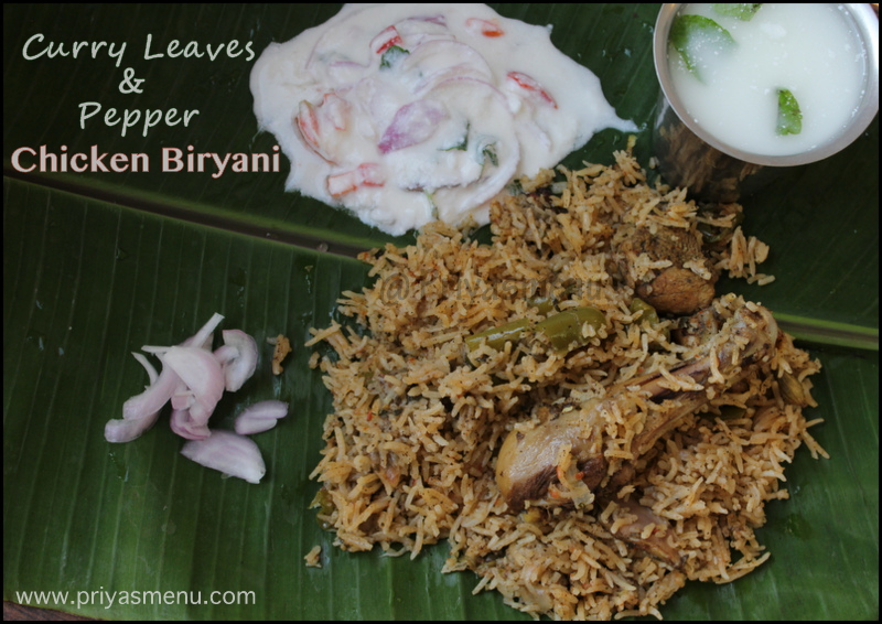 Curry leaves & Pepper Chicken Biryani