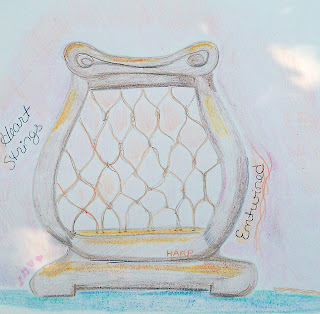 This image is a drawing of a small harp. It's strings are made of twine and actually firmly knotted together.