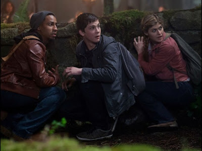 Logan Lerman, Brandon T. Jackson and Alexandra Daddario