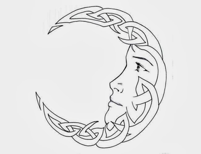 Moon face Celtic tattoo stencil