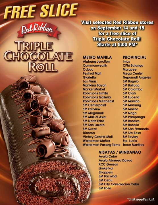 Manila Life Free Slice Of Red Ribbon S Triple Chocolate Roll