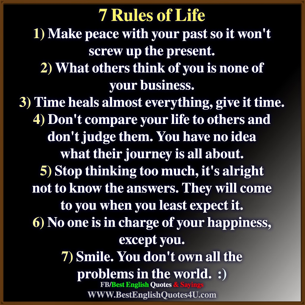 7 Rules Of Life Quote Gorgeous 7 Rules Of Life  Best'english'quotes'&'sayings