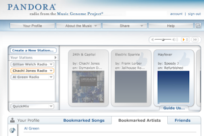 pandora, online radio, music, screenshot