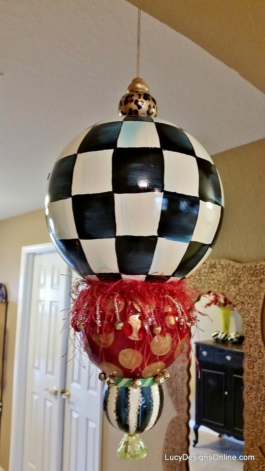 whimsical giant painted ornaments
