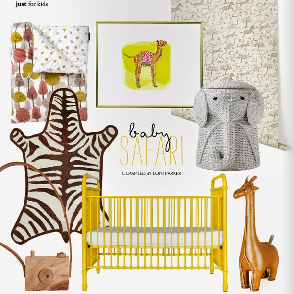 dormitorio infantil cuna amarilla alfombra cebra safari decoración