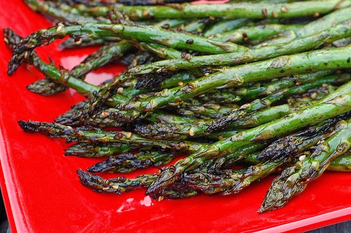 Grilled asparagus in an Asian-inspired marinade by Eve Fox, the Garden of Eating, copyright 2013