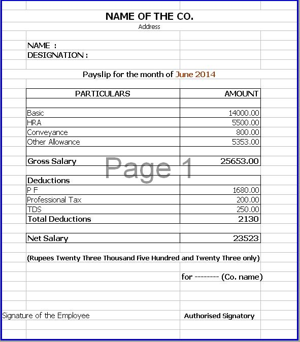 Doc683472 Salary Slip Format Word Free Download Salary Slip – Download Salary Slip Format