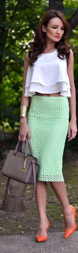 Zara Mint Green Geometric Cutout Pencil Midi Skirt by My Silk Fairytale