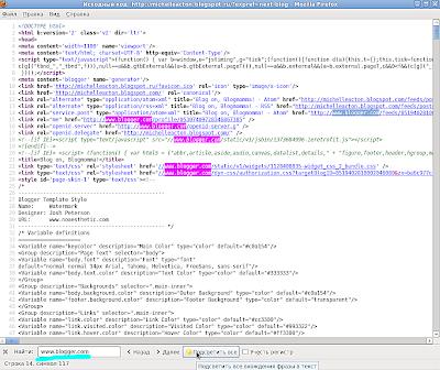 Исходный код страницы Blogger