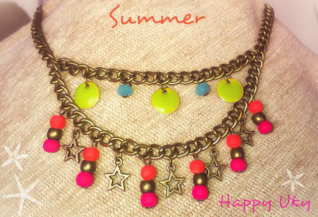 Happy Uky Summer Colores Fluor   Verano Collar Handmade Barcelona