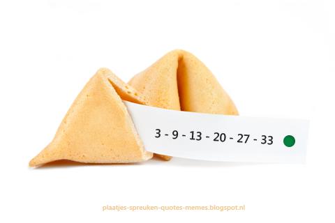 fortune cookie met lotto uitslag