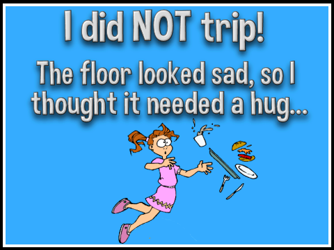 tripping woman says the floor looked sad so I thought it needed a hug
