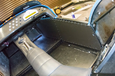 A wider angle shot of the first carbon interior panel