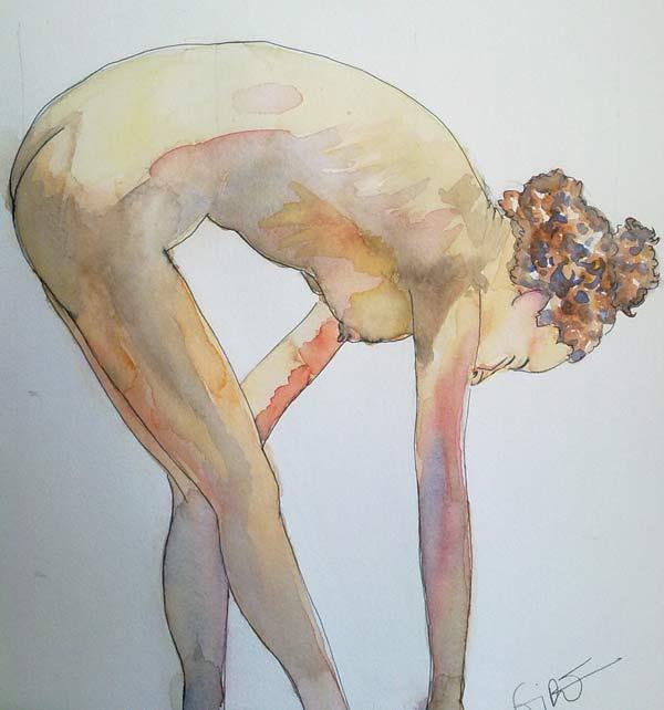 desnudo tocandose el pie