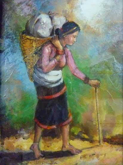Nepali women carrying vegetables to her village in the annapurna range (acrylic painting)