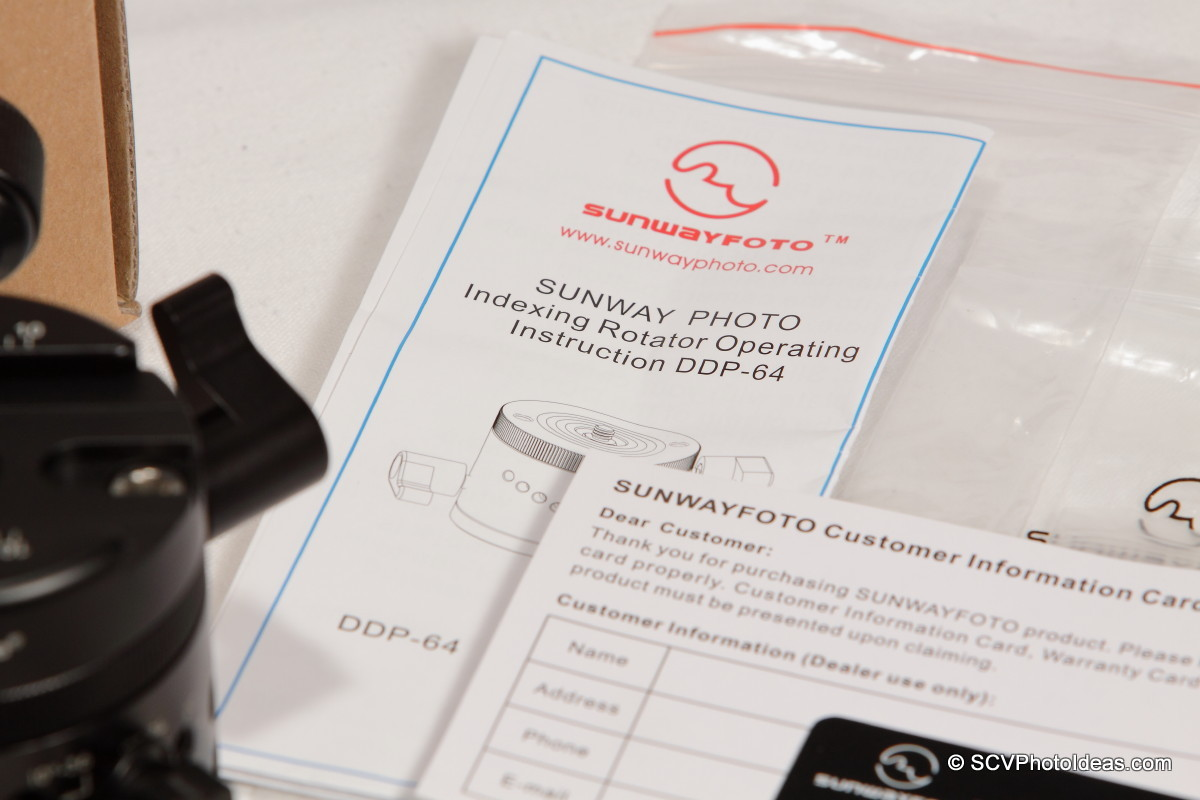 Sunwayfoto DDP-64MX+DDY-64 Indexing Rotator Operating Instructions