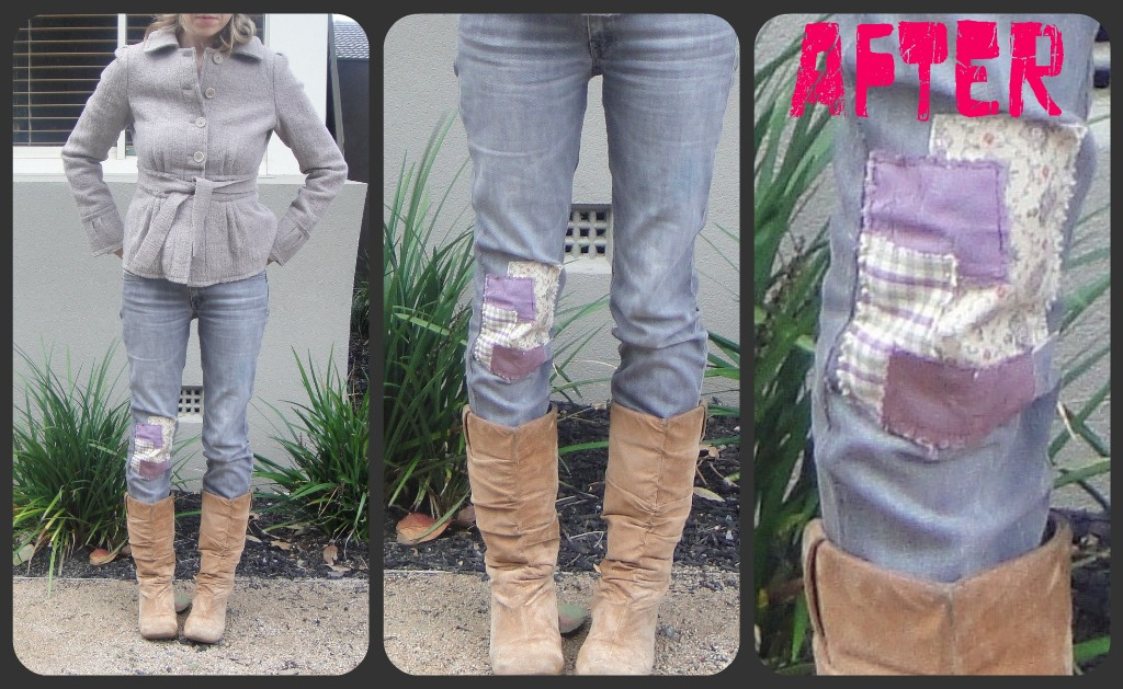 Recycled Fashion Patching With Upholstery Samples Custom How To Patch Jeans Without A Sewing Machine