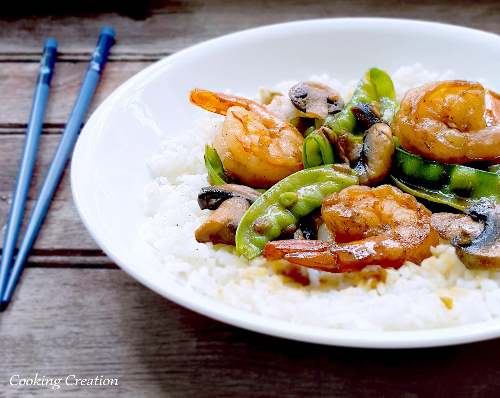 Cooking Creation: Shrimp, Snow Peas & Mushrooms over ...