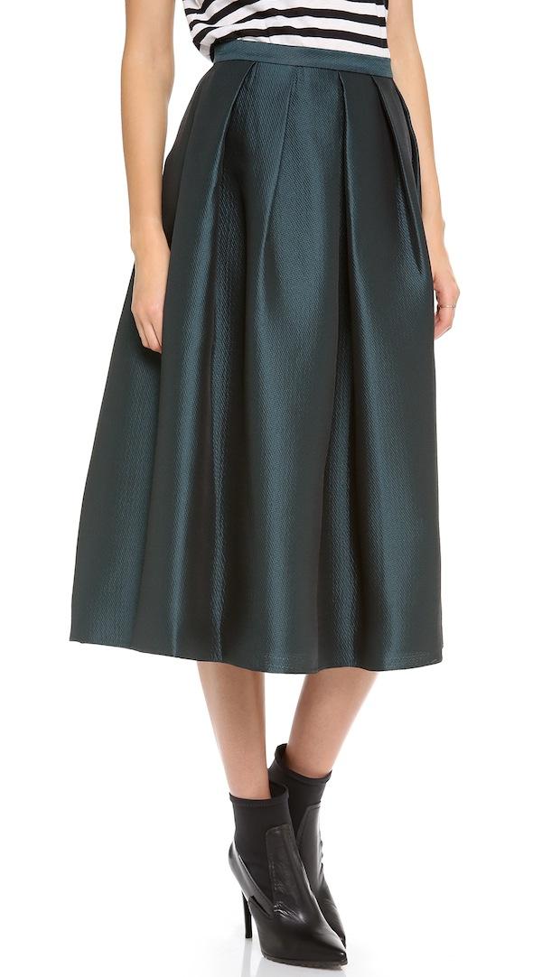 Tibi Simona Jacquard Full Skirt Green Tibi Fall 13 | Southern Arrondissement