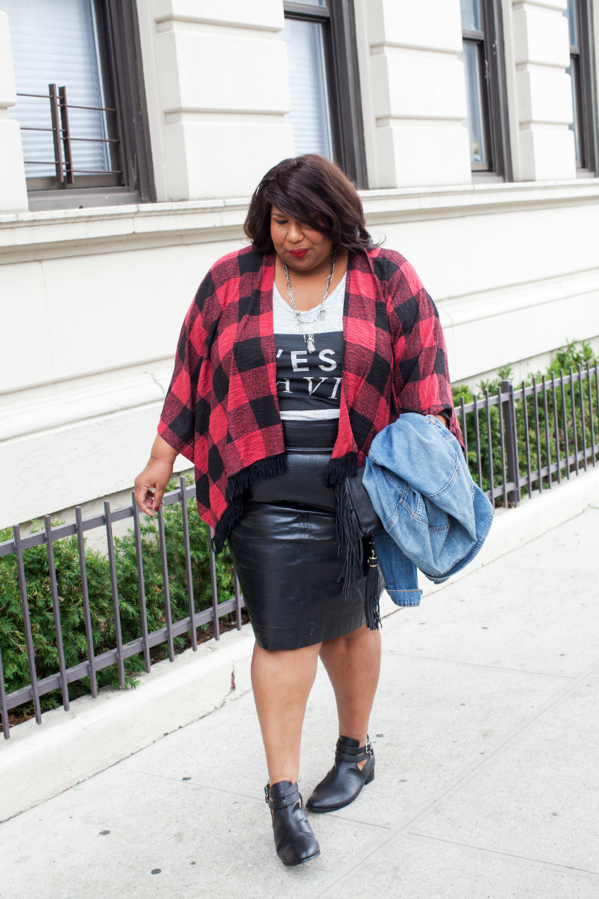 target plaid graphic tee leather skirt