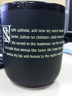 game of thrones, a song of ice and fire, night's watch mug