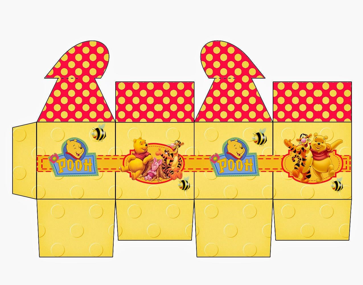Winnie the Pooh Free Printable Box with Heart Closure.