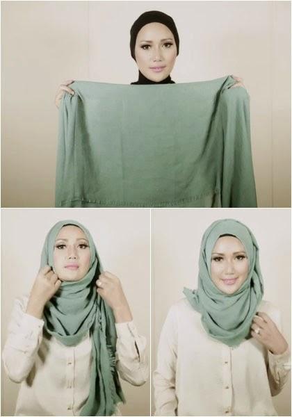 Dalam Video Tutorial Hijab Simple Tanpa Jarum Pentul yang di unggah ...