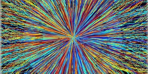 Ilustrasi tumbukan di Large Hadron Collider