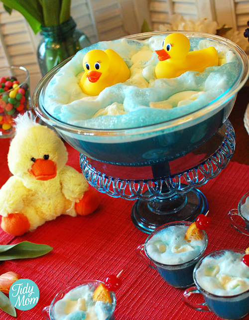 duckies swimming in a bath for a baby shower what a great punch idea