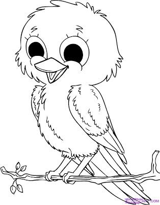 Cute Baby Animal Coloring Page Bird