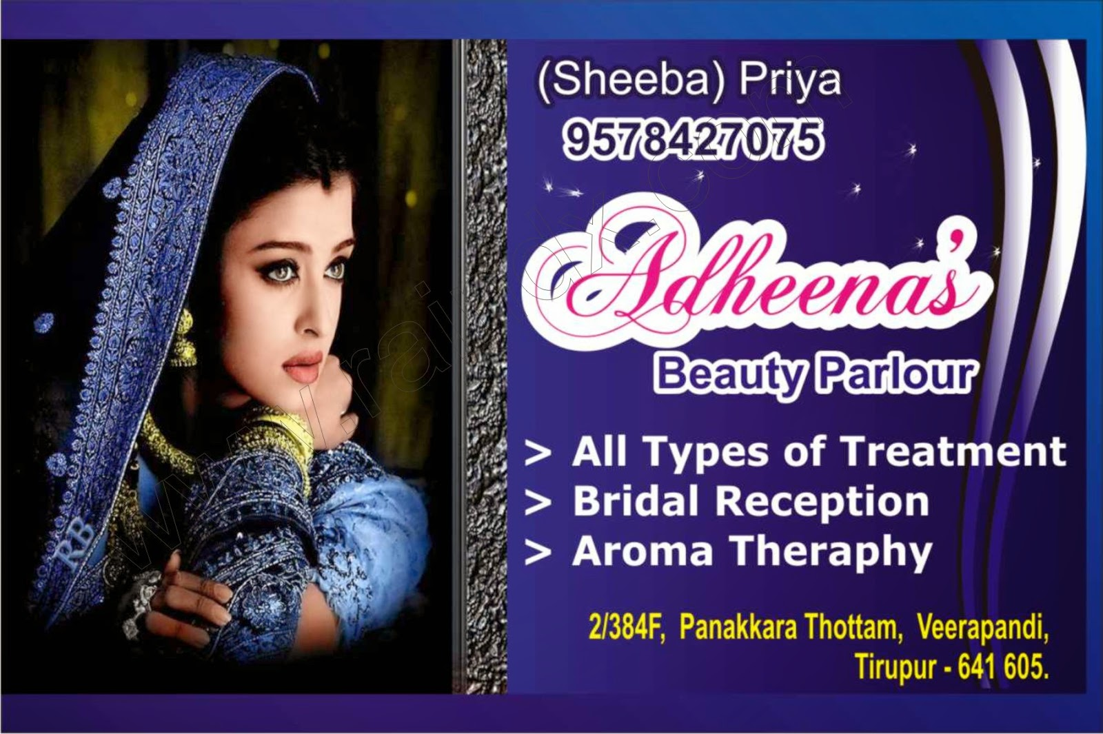 Parlour Business Card Adheenas Beauty Parlour Rain Digital