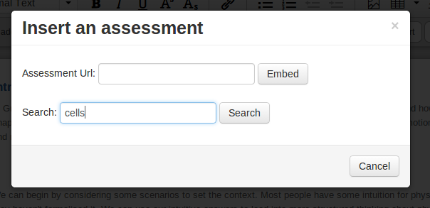 """Insert an Assessment"", with two fields, ""Assessment url"", or ""Search"""