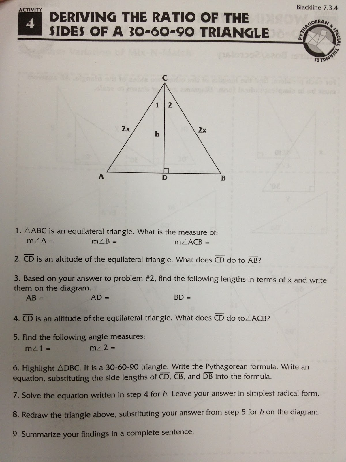 Take An Equilateral Triangle, Its Altitude, And The Pythagorean Theorem To  Find Out The