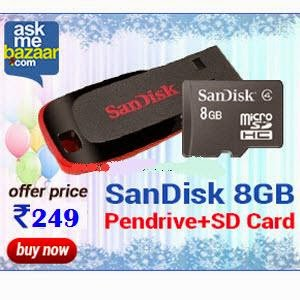 Askmebazar: Buy SanDisk 8GB Cruzer Blade Pen Drive and 8GB MicroSD Card Combo at Rs. 249