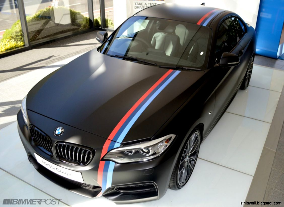 One of a kind M235i   Matte Black w M Stripes Performance wheels