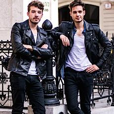 John Pavlish, Marko Costantini, mens fashion, biker jacket, skinny black jeans and white tee