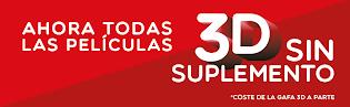 YELMO CINES ELIMINA EL SUPLEMENTO DE LAS PELÍCULAS EN 3D.