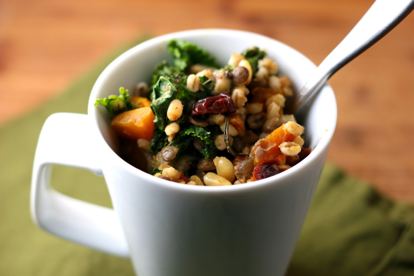 Roasted Calabaza and Garlic with Lentils, Barley, Kale,Toasted Pine ...