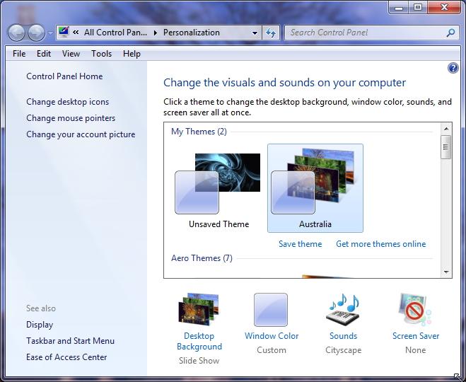 Personalization Windows 7