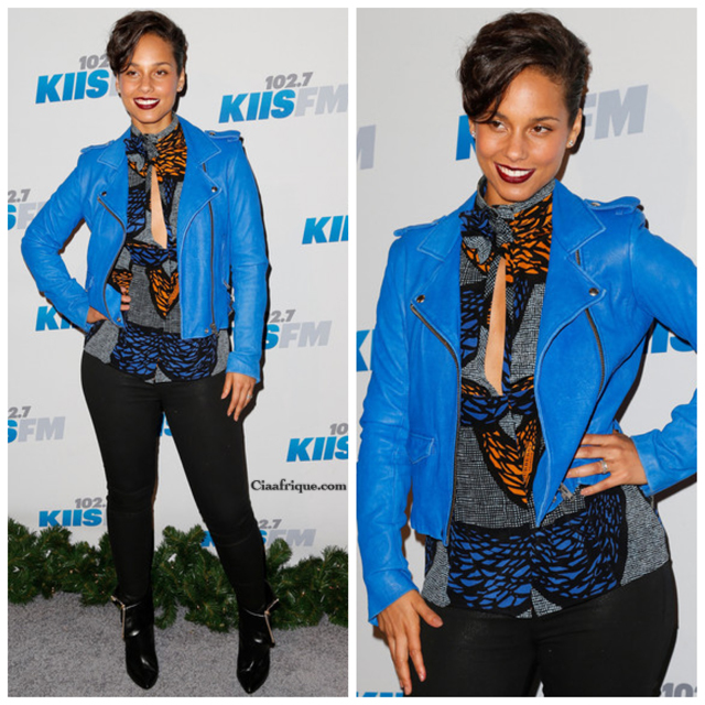 celebrities in african print  Alicia Keys's KIIS FM Jingle Ball 2012 Turquoise Leather Jacket, Burberry Prorsum Printed Top