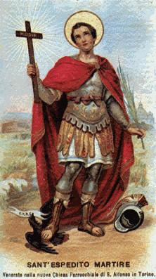 San Expedito sosteniendo la cruz en su mano derecha