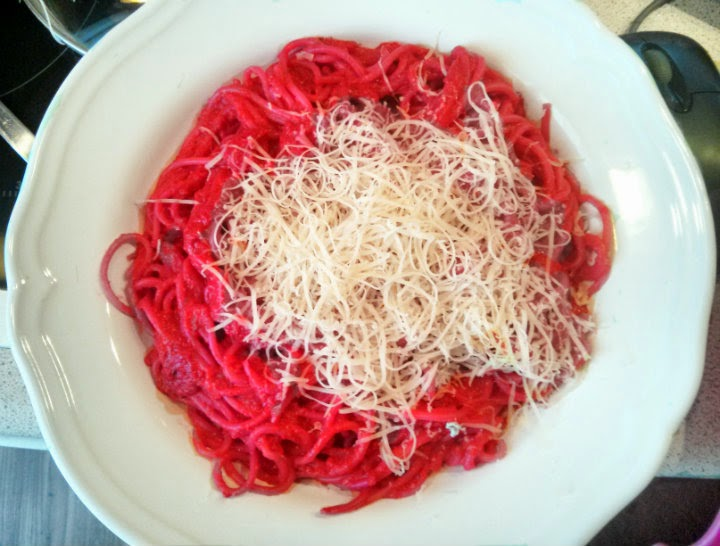 pink spring pasta beets red peppers garlic onion feta cheese olive oil pesto