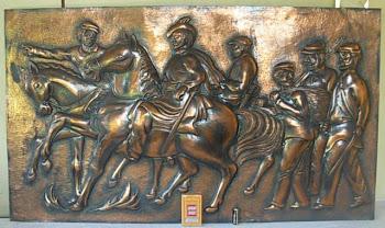 Relief Berkuda Tembaga Ukir 105 x 60